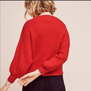 Anthropologie Line and Dot Balloon Sweater
